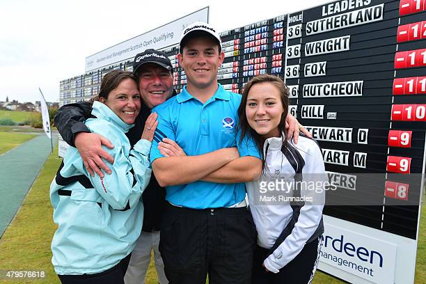 Callum Hill of Tantallon Golf Club who qualified for the Scottish Open with his family mum Emma dad Tom and sister Gemma during the second day of the...