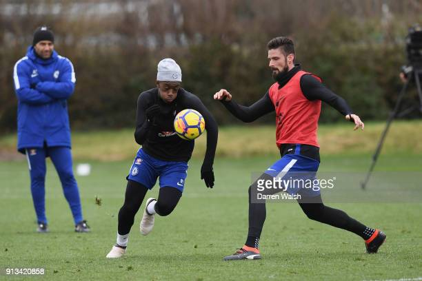 Callum Hudson Odoi and Olivier Giroud of Chelsea during a training session at Chelsea Training Ground on February 2 2018 in Cobham England