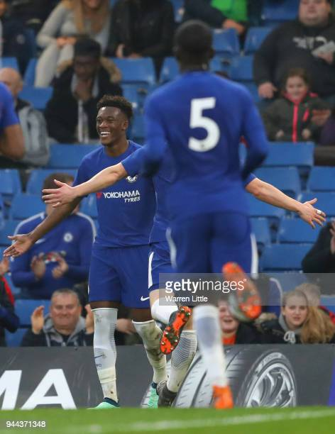 Callum Hudson Odoi of Chelsea celebrates scoring the opening goal during the the FA Youth Cup semifinal second leg match between Chelsea and...