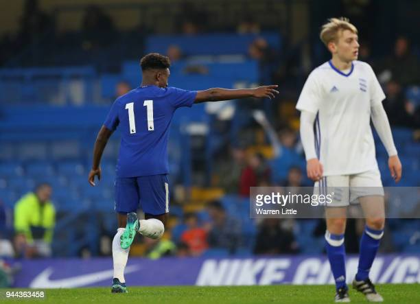 Callum Hudson Odoi of Chelsea celebrates scoring the third goal during the the FA Youth Cup semifinal second leg match between Chelsea and Birmingham...