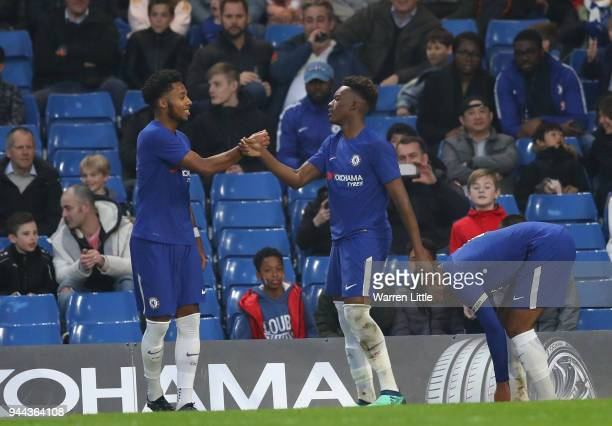 Callum Hudson Odoi of Chelsea celebrates scoring the third goal with team mate Marcel Lavinier during the the FA Youth Cup semifinal second leg match...