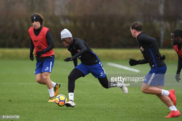 Callum Hudson Odoi of Chelsea during a training session at Chelsea Training Ground on February 2 2018 in Cobham England