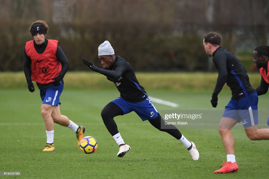 Callum Hudson Odoi of Chelsea during a training session at Chelsea Training Ground on February 2, 2018 in Cobham, England.
