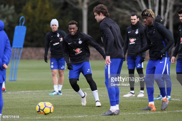 Callum Hudson Odoi of Chelsea during a training session at Chelsea Training Ground on March 9 2018 in Cobham England
