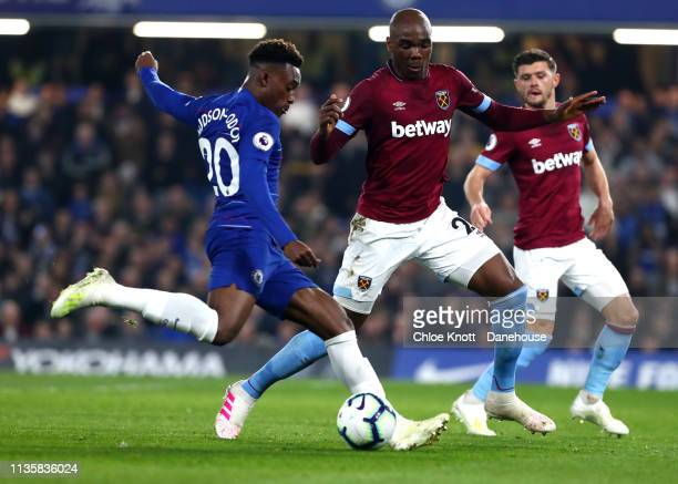 Callum Hudson Odoi of Chelsea FC takes a shot at the goal during the Premier League match between Chelsea FC and West Ham United at Stamford Bridge...