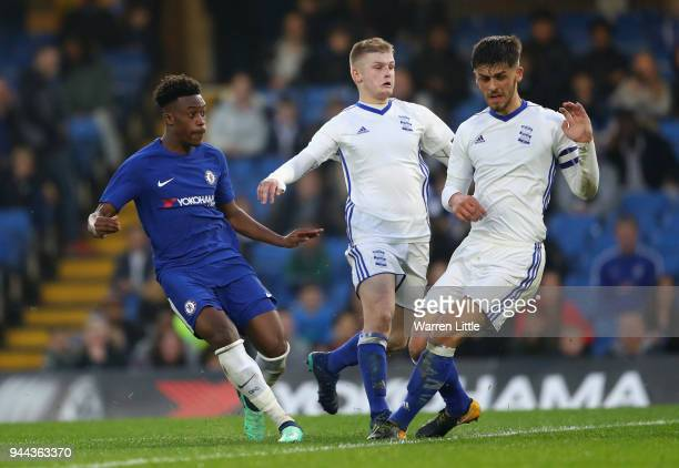Callum Hudson Odoi of Chelsea scores the third goal during the the FA Youth Cup semifinal second leg match between Chelsea and Birmingham City at...