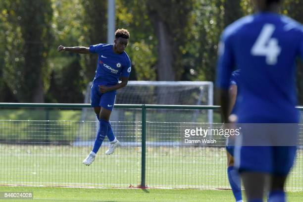 Callum Hudson Odoi of Chelsea U19's celebrates his goal during the UEFA Youth Champions League group C match between Chelsea FC and Qarabag FK at...