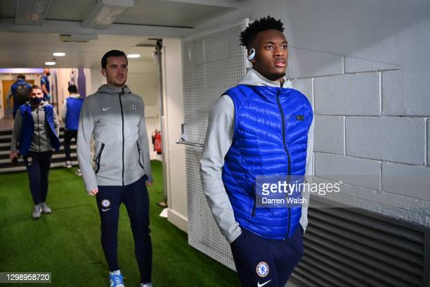 Callum Hudson-Odoi and Ben Chilwell of Chelsea arrive at the stadium prior to the Premier League match between Chelsea and Wolverhampton Wanderers at...