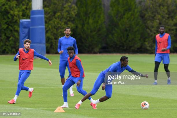 Callum Hudson-Odoi and Tammy Abraham of Chelsea during a training session at Chelsea Training Ground on June 4, 2020 in Cobham, England.