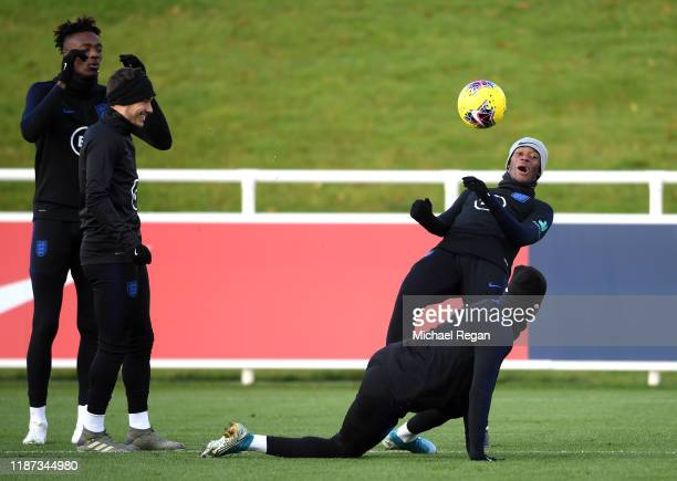 Callum Hudson-Odoi attends a training session during and England Media Access Day at St Georges Park on November 13, 2019 in Burton-upon-Trent,...