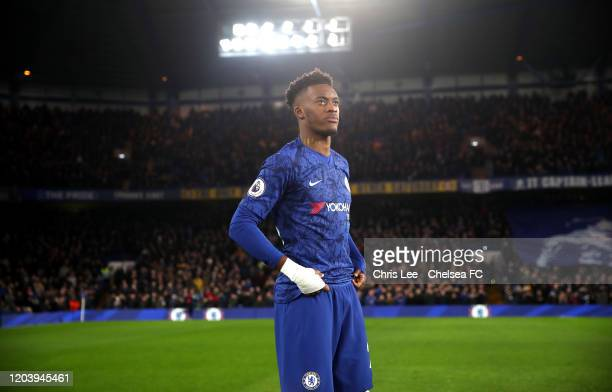 Callum HudsonOdoi before kick off during the Premier League match between Chelsea FC and Arsenal FC at Stamford Bridge on January 21 2020 in London...