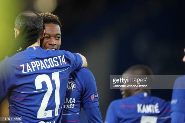 Callum HudsonOdoi celebrates scoring their 3rd goal during the UEFA Europa League Round of 16 First Leg match between Chelsea and Dynamo Kyiv at...