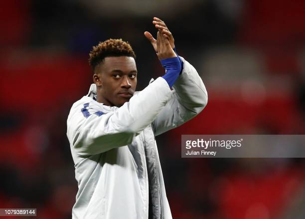 Callum HudsonOdoi of Chelsea acknowledges the fans after the Carabao Cup SemiFinal First Leg match between Tottenham Hotspur and Chelsea at Wembley...