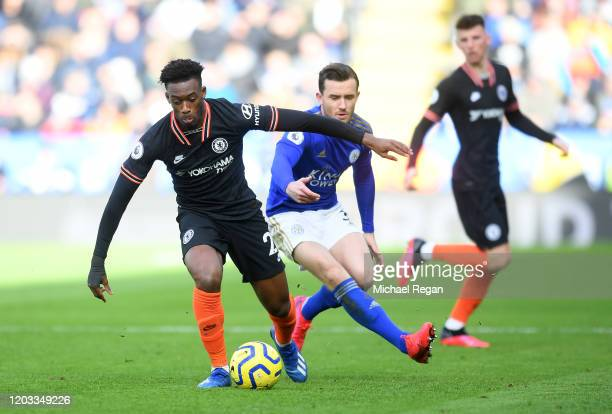 Callum HudsonOdoi of Chelsea and Ben Chilwell of Leicester City during the Premier League match between Leicester City and Chelsea FC at The King...