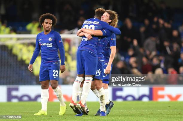 Callum HudsonOdoi of Chelsea and Ethan Ampadu of Chelsea celebrate following their sides victory in the UEFA Europa League Group L match between...