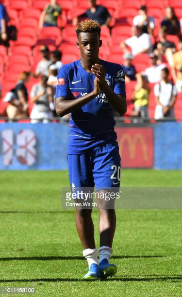 Callum HudsonOdoi of Chelsea applauds fans after the FA Community Shield between Manchester City and Chelsea at Wembley Stadium on August 5 2018 in...