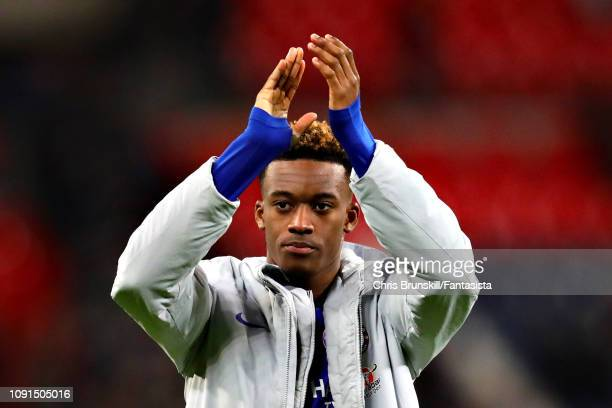 Callum HudsonOdoi of Chelsea applauds the crowd after the Carabao Cup Semi Final First Leg between Tottenham Hotspur and Chelsea at Wembley Stadium...