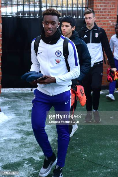 Callum HudsonOdoi of Chelsea arrives at the ground prior to the FA Youth Cup quarter final match between Fulham and Chelsea at Craven Cottage Fulham...