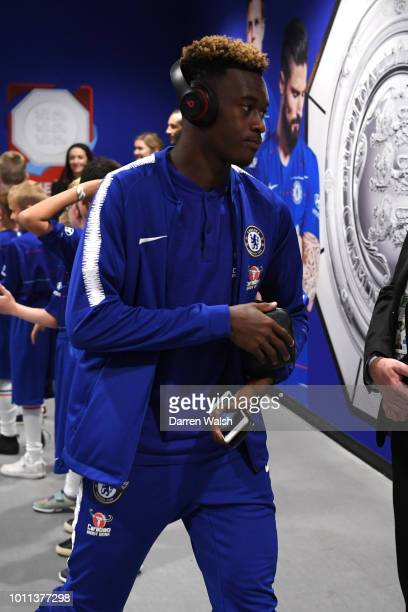 Callum HudsonOdoi of Chelsea arrives at the stadium prior to the FA Community Shield between Manchester City and Chelsea at Wembley Stadium on August...