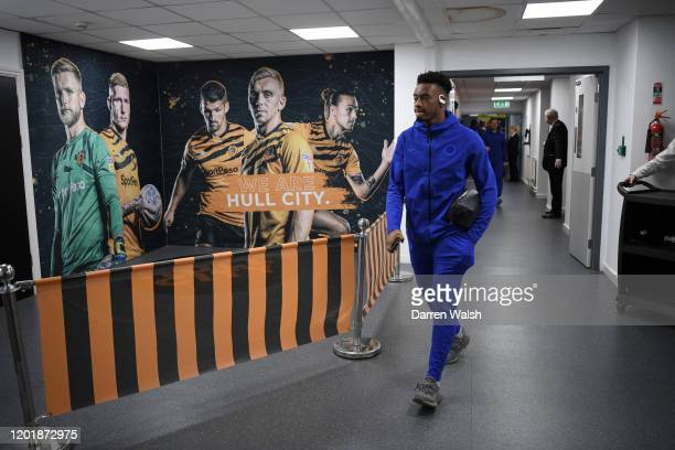 Callum HudsonOdoi of Chelsea arrives at the stadium prior to the FA Cup Fourth Round match between Hull City FC and Chelsea FC at KCOM Stadium on...