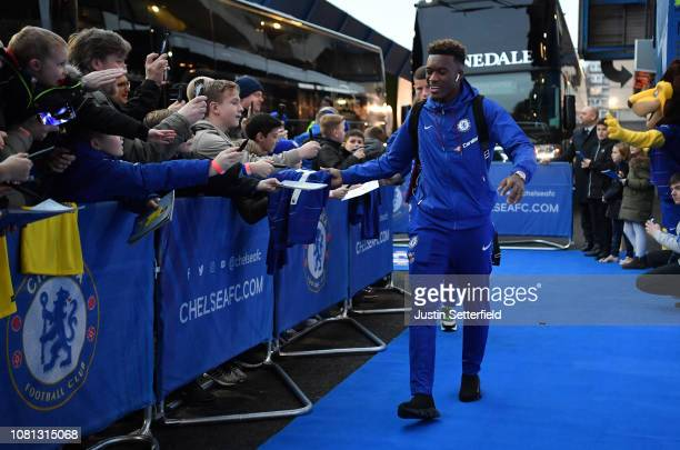 Callum HudsonOdoi of Chelsea arrives prior to the Premier League match between Chelsea FC and Newcastle United at Stamford Bridge on January 12 2019...