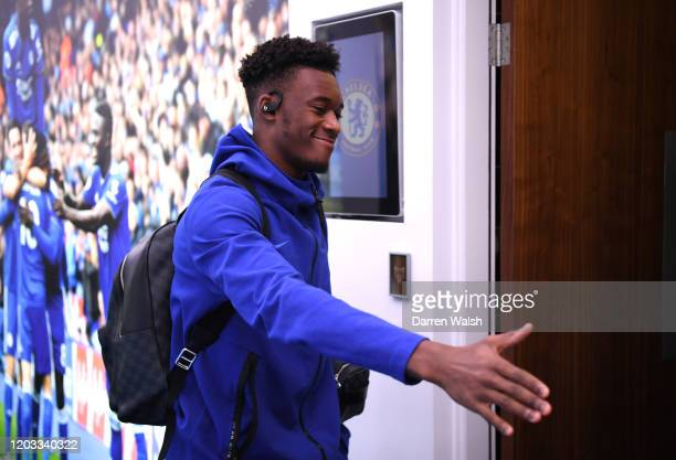 Callum HudsonOdoi of Chelsea arrives prior to the Premier League match between Leicester City and Chelsea FC at The King Power Stadium on February 01...