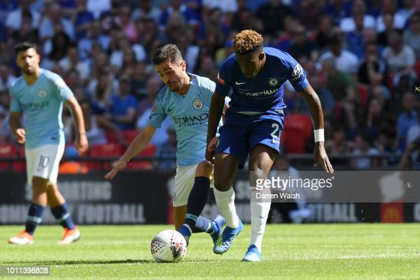 Callum HudsonOdoi of Chelsea battles for possession with Bernardo Silva of Manchester City during the FA Community Shield between Manchester City and...