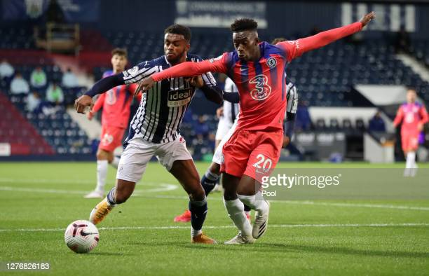 Callum HudsonOdoi of Chelsea battles for possession with Daniell Furlong of West Bromwich Albion during the Premier League match between West...