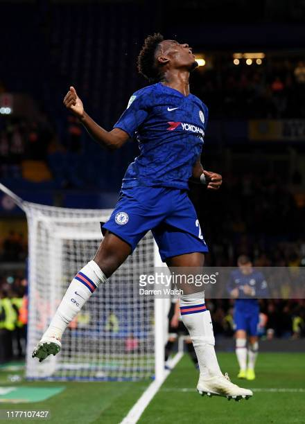 Callum Hudson-Odoi of Chelsea celebrates after he scores his sides 7th goal during the Carabao Cup Third Round match between Chelsea FC and Grimsby...