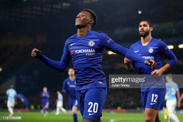 Callum Hudson-Odoi of Chelsea celebrates after he scores his sides third goal during the UEFA Europa League Round of 32 Second Leg match between...