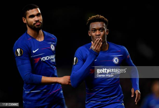 Callum HudsonOdoi of Chelsea celebrates after he scores his sides third goal during the UEFA Europa League Round of 32 Second Leg match between...