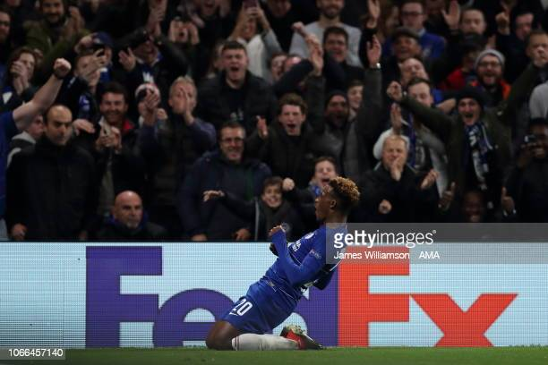 Callum HudsonOdoi of Chelsea celebrates after scoring a goal to make it 30 during the UEFA Europa League Group L match between Chelsea and PAOK at...