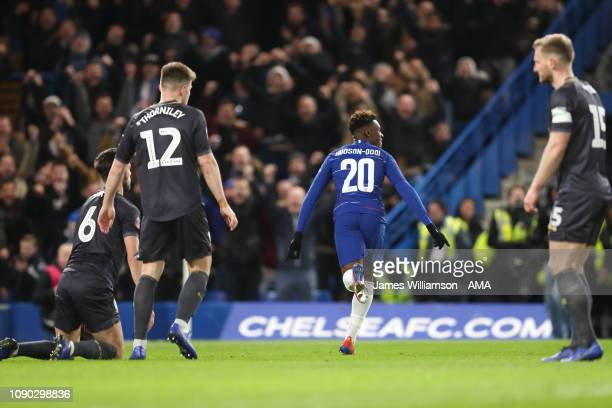 Callum HudsonOdoi of Chelsea celebrates after scoring a goal to make it 20 during the FA Cup Fourth Round match between Chelsea and Sheffield...