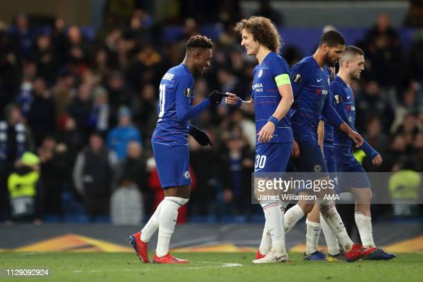 Callum HudsonOdoi of Chelsea celebrates after scoring a goal to make it 30 with David Luiz during the UEFA Europa League Round of 16 First Leg match...
