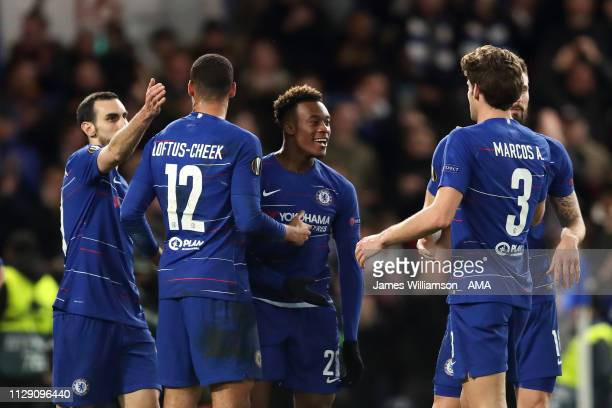 Callum HudsonOdoi of Chelsea celebrates after scoring a goal to make it 30 during the UEFA Europa League Round of 16 First Leg match between Chelsea...