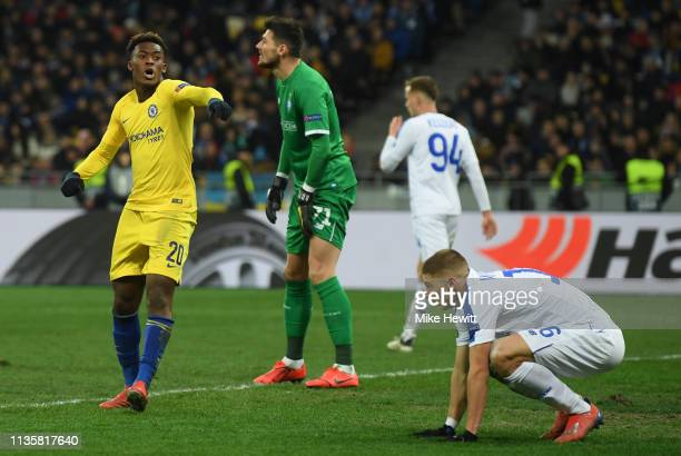 Callum HudsonOdoi of Chelsea celebrates after scoring his team's fifth goal during the UEFA Europa League Round of 16 Second Leg match between Dynamo...