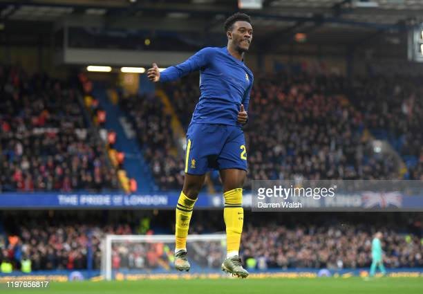 Callum Hudson-Odoi of Chelsea celebrates after scoring his team's first goal during the FA Cup Third Round match between Chelsea and Nottingham...