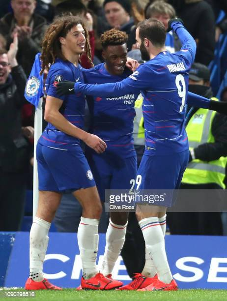 Callum HudsonOdoi of Chelsea celebrates after scoring his team's second goal with Gonzalo Higuain of Chelsea and Ethan Ampadu of Chelsea during the...