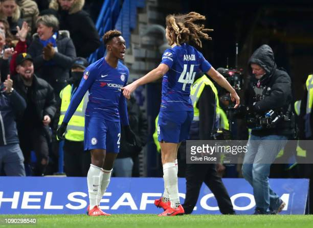 Callum HudsonOdoi of Chelsea celebrates after scoring his team's second goal with Ethan Ampadu of Chelsea during the FA Cup Fourth Round match...