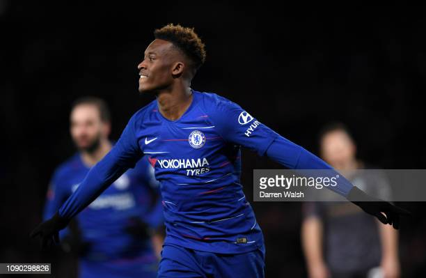 Callum Hudson-Odoi of Chelsea celebrates after scoring his team's second goal during the FA Cup Fourth Round match between Chelsea and Sheffield...