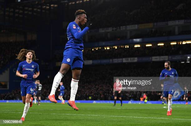 Callum Hudson-Odoi of Chelsea celebrates after scoring his team's second goal with Ethan Ampadu of Chelsea and Gonzalo Higuain of Chelsea during the...