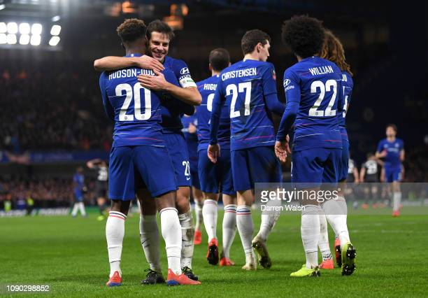 Callum Hudson-Odoi of Chelsea celebrates after scoring his team's second goal with Cesar Azpilicueta of Chelsea during the FA Cup Fourth Round match...
