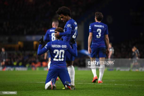 Callum Hudson-Odoi of Chelsea celebrates after scoring his team's second goal with Willian of Chelsea during the FA Cup Fourth Round match between...