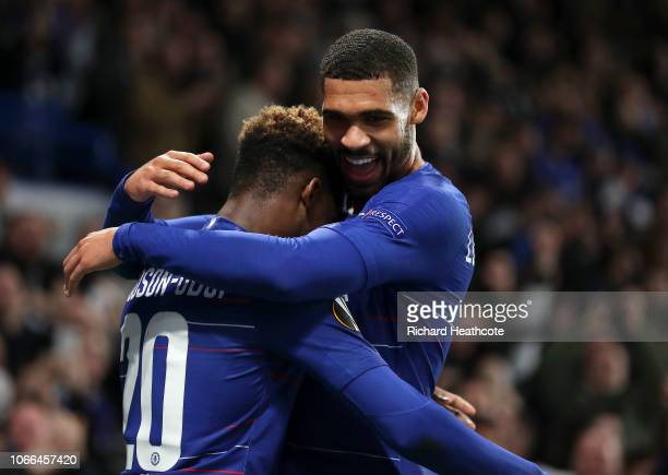 Callum HudsonOdoi of Chelsea celebrates after scoring his team's third goal with Ruben LoftusCheek of Chelsea during the UEFA Europa League Group L...