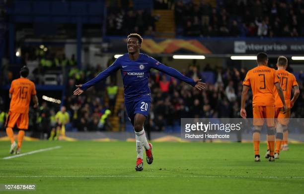 Callum HudsonOdoi of Chelsea celebrates after scoring his team's third goal during the UEFA Europa League Group L match between Chelsea and PAOK at...