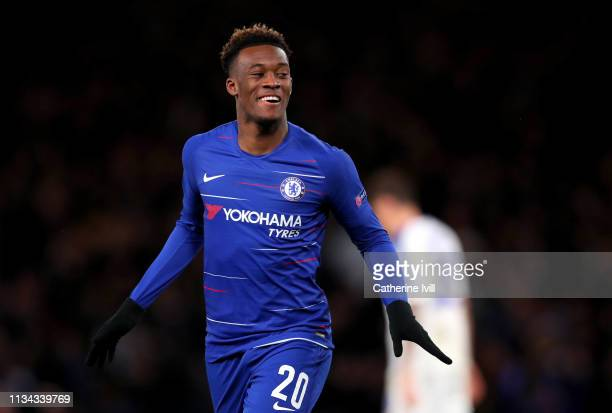 Callum HudsonOdoi of Chelsea celebrates after scoring his team's third goal during the UEFA Europa League Round of 16 First Leg match between Chelsea...