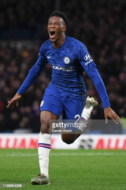 Callum Hudson-Odoi of Chelsea celebrates after scoring his team's third goal during the Premier League match between Chelsea FC and Burnley FC at...