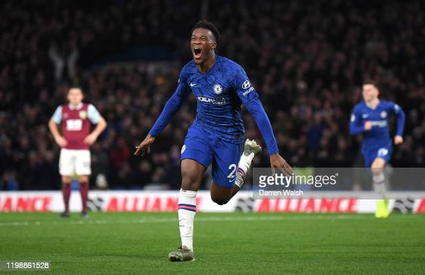 Callum HudsonOdoi of Chelsea celebrates after scoring his team's third goal during the Premier League match between Chelsea FC and Burnley FC at...