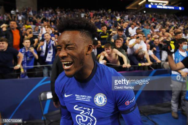 Callum Hudson-Odoi of Chelsea celebrates following victory during the UEFA Champions League Final between Manchester City and Chelsea FC at Estadio...