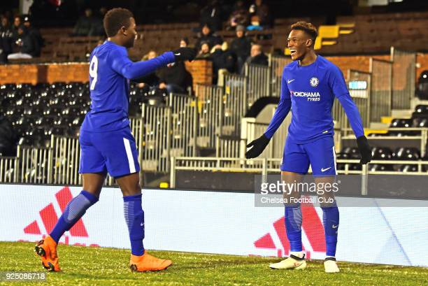 Callum HudsonOdoi of Chelsea celebrates his goal during the FA Youth Cup quarter final match between Fulham and Chelsea at Craven Cottage Fulham on...
